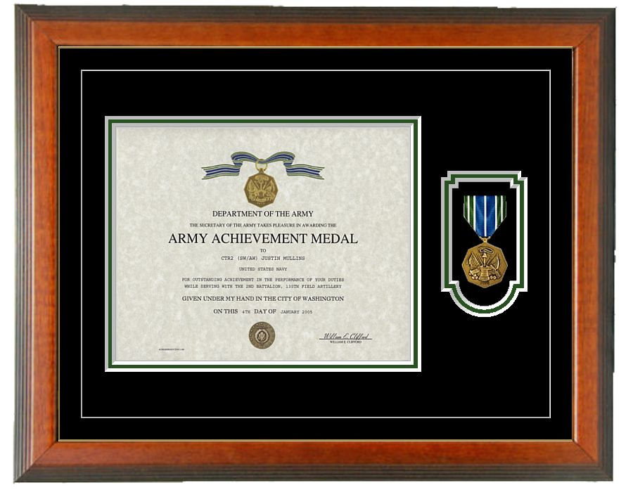 Army Achievement Certificate Frame Horizontal Military