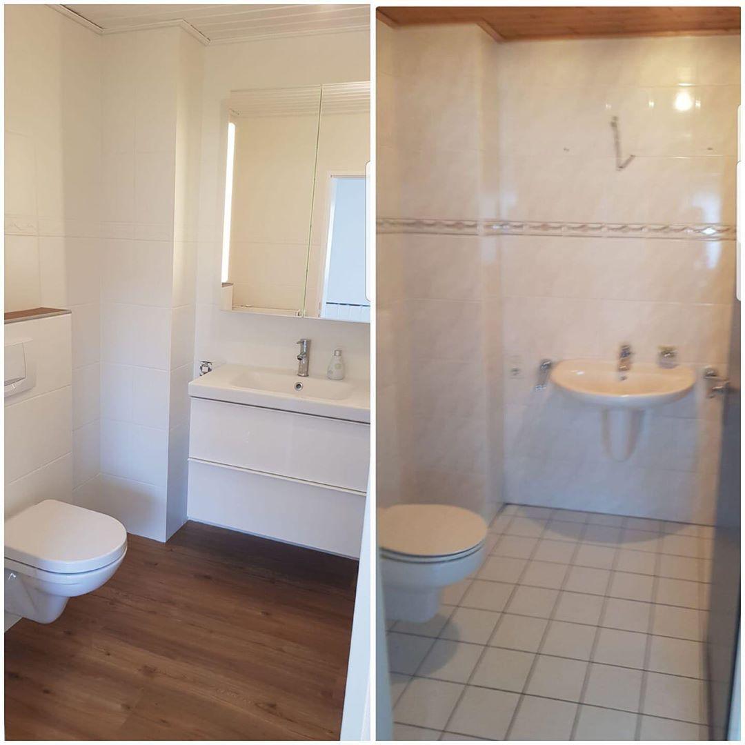 Grosses Makeover In Diesem Bad Boden Und Waschb Badezimmer Klein Waschbecken Fliesen