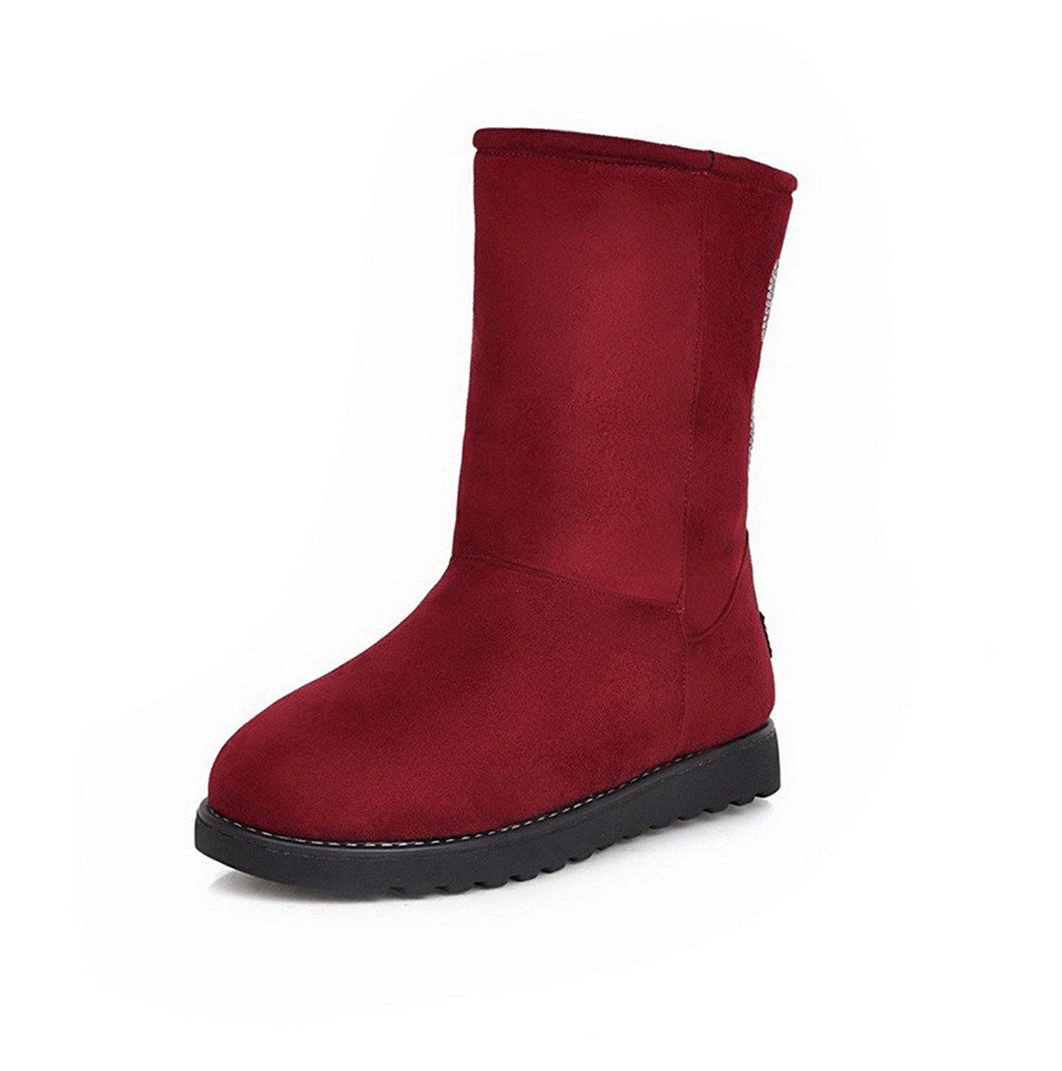 Women's Low-top Solid Pull-on Round Closed Toe Low-Heels Snow-Boots