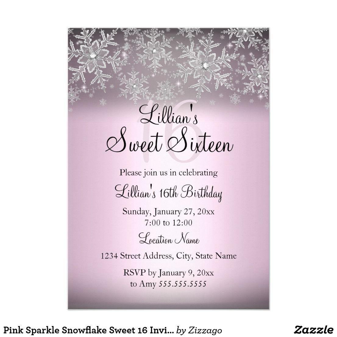 Pink Sparkle Snowflake Sweet 16 Invitation Pink Sweet 16 Birthday ...