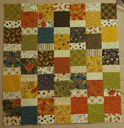 A mixture of squares and rectangles to make a table cloth