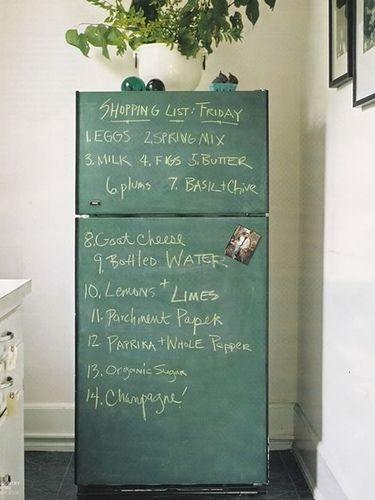 chalkboard fridge to transform an ugly older fridge