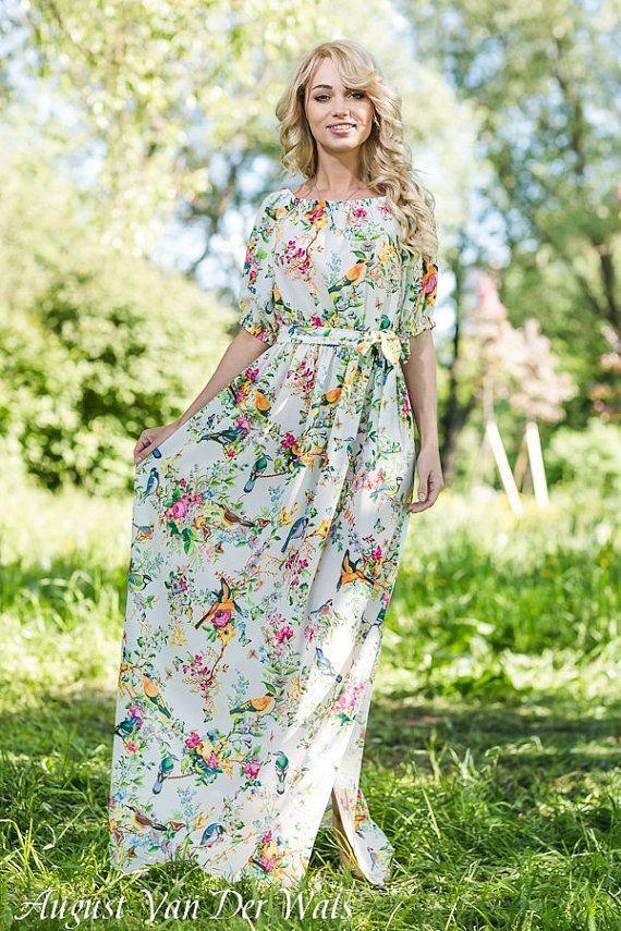 a963702eb5a8 Floral dress Maxi 100% Viscose   High Quality Designer summer dress. White  dress