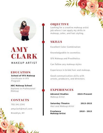 Red Watercolor Floral Accent Creative Resume resumé Pinterest - resume with accent