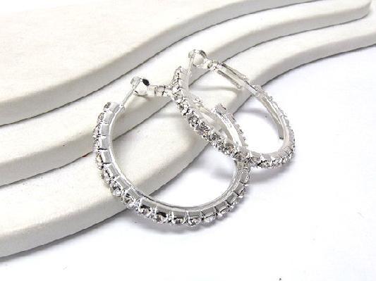 rhinestone hoop earrings brand new ladies