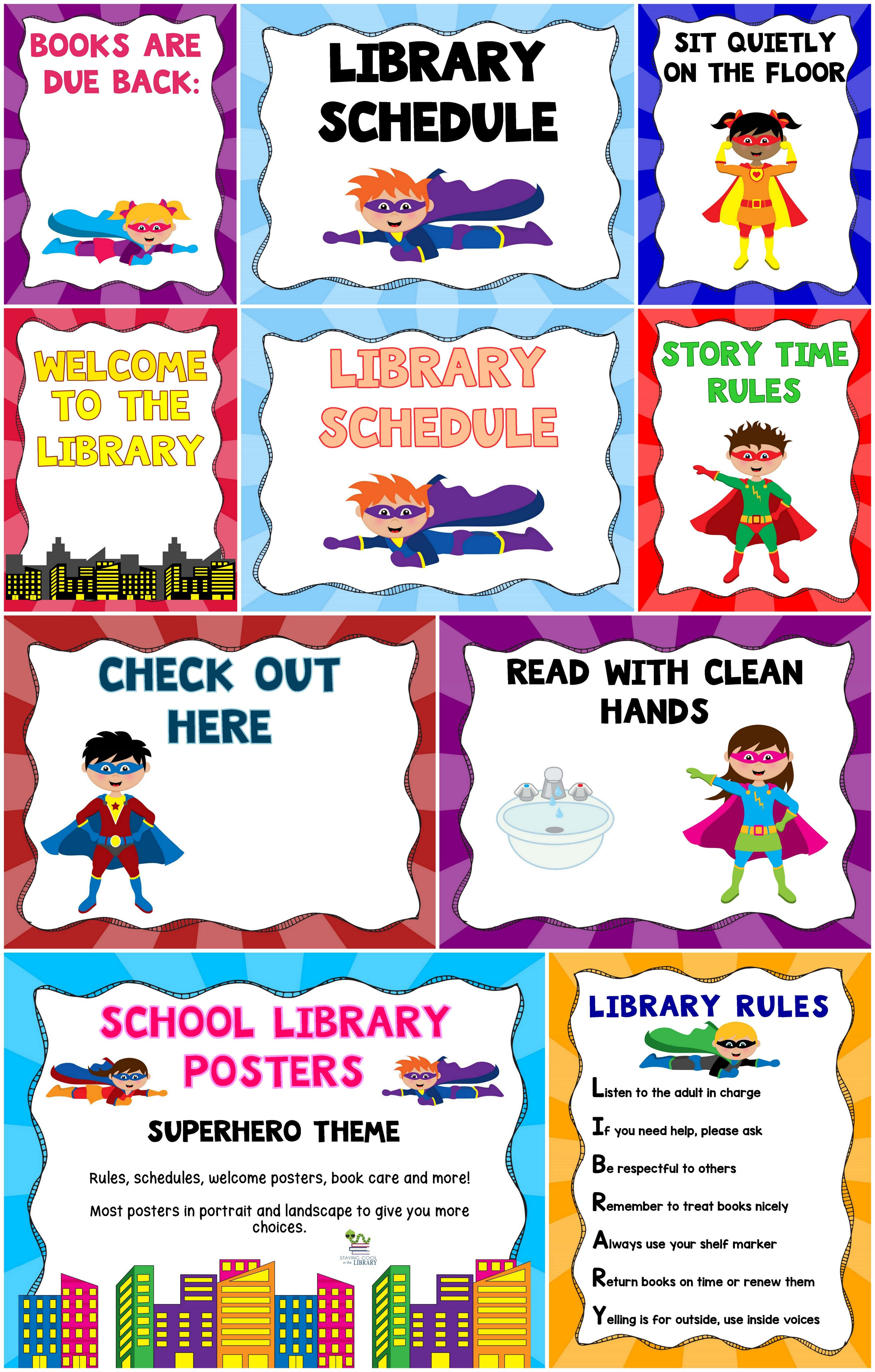 Decorate Your Library With Superheroes There Are Over 100 Pages Of Posters Posters Come In Portrait An Library Posters School Library Posters Superhero Theme