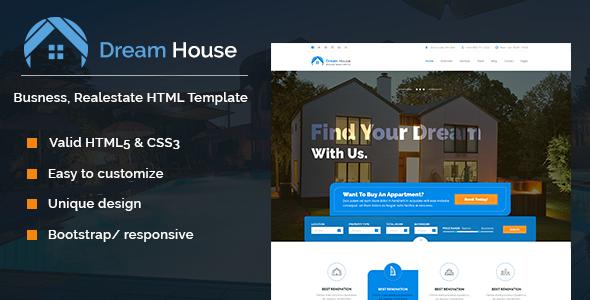 Dream House | Real estate HTML template | Online real estate, Real on online documentation, online email, online faq,