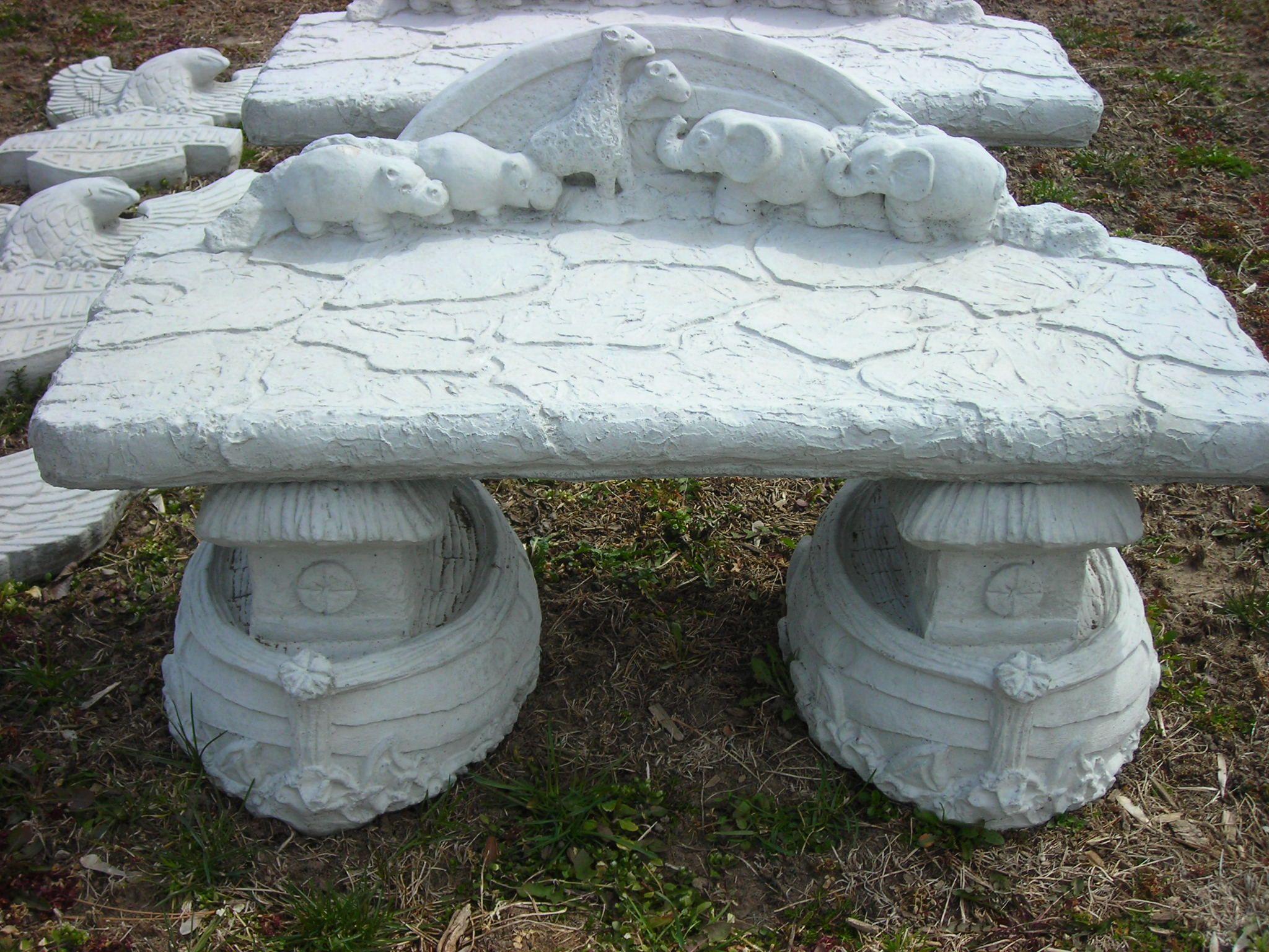 Noah' Arc Child Sized Cement Bench Garden Statues