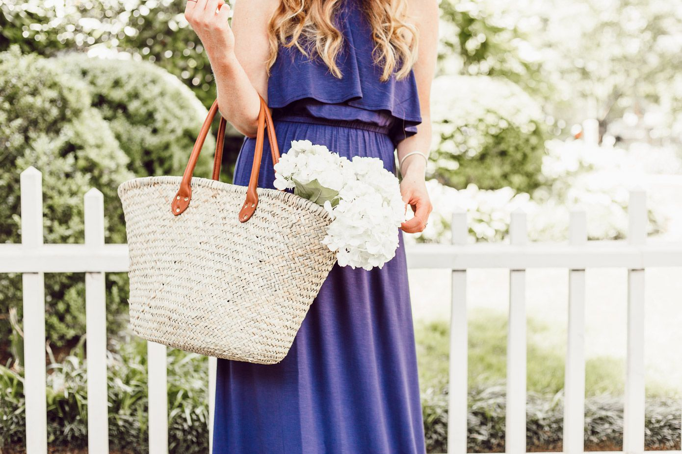 1735531b5bd Gap Natural Straw Tote - Navy Jersey Maxi Dress featured by popular  Charlotte fashion blog