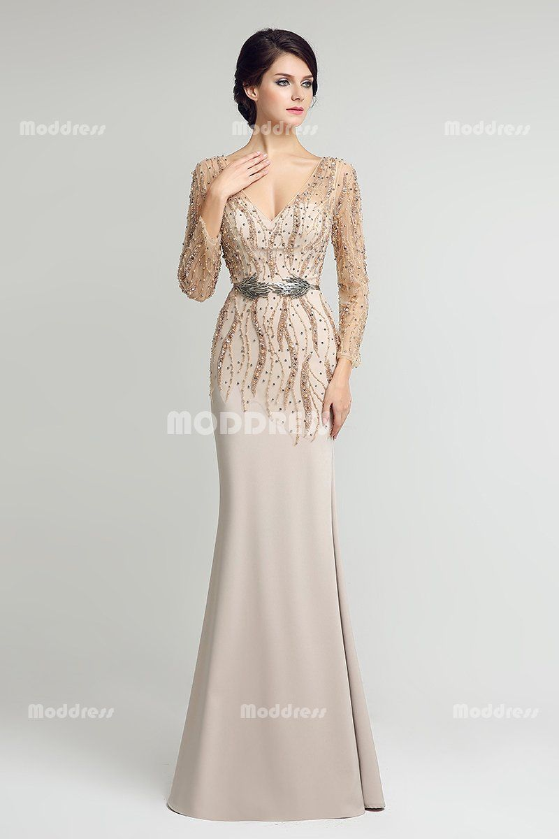 Vneck beading pearls long prom dresses mermaid evening dresses long