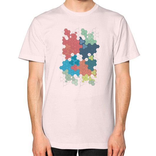 Geometric colored hexagon cluster art Unisex T-Shirt (on man)