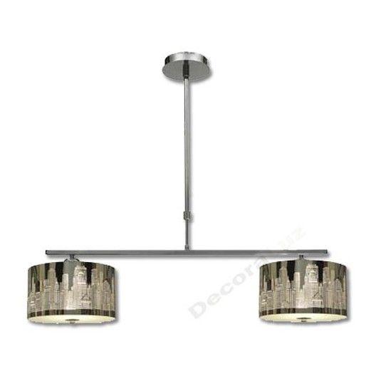 Lámpara cromo 2 pantallas imagen ciudad estilo moderno Lámparas de - lamparas de techo modernas