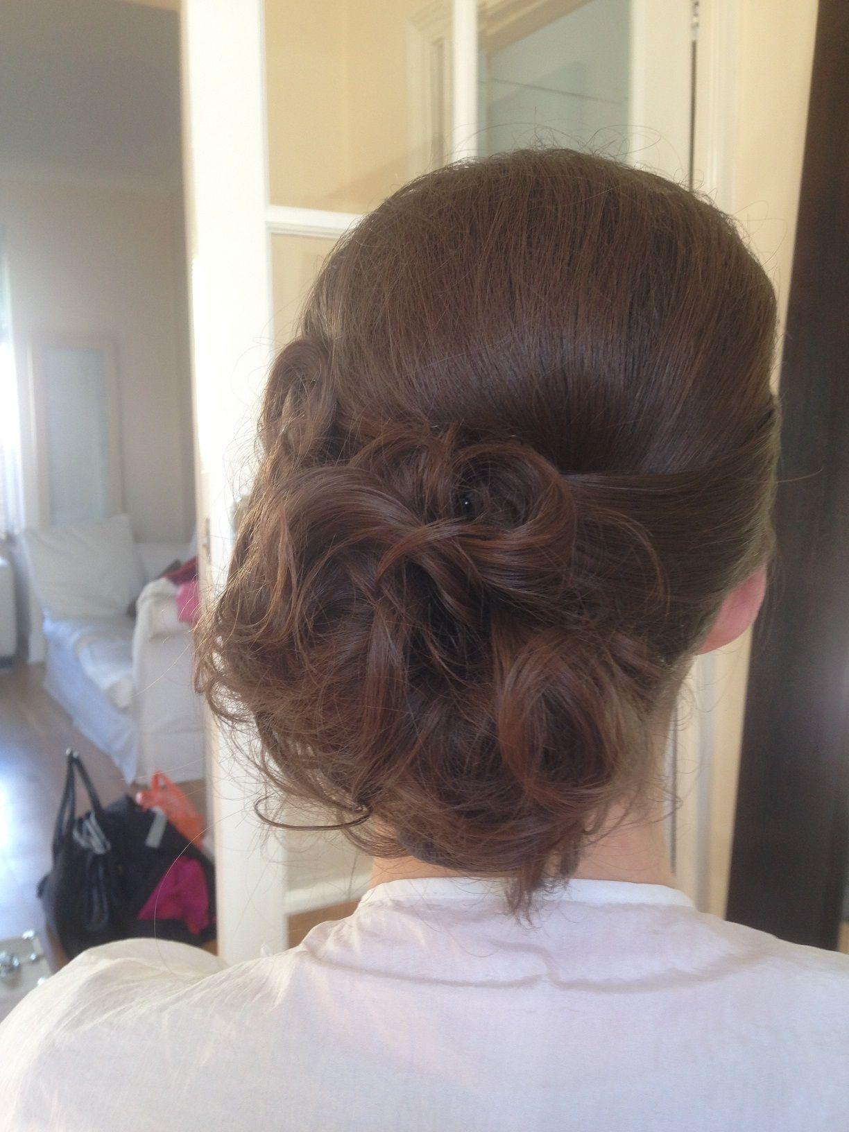 Side curly bun wedding hair trial wedding hair u make up by