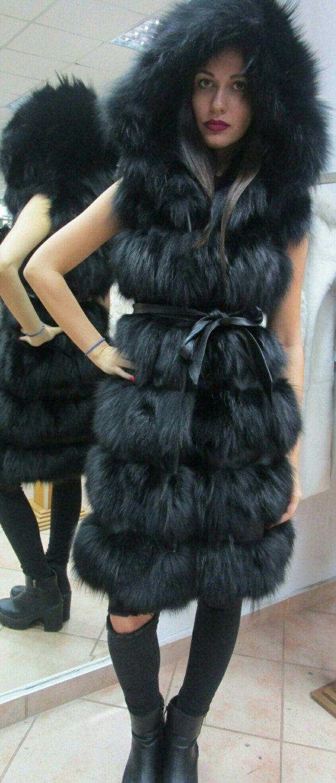Women fur vest real silver fox fur waistcoat jacket