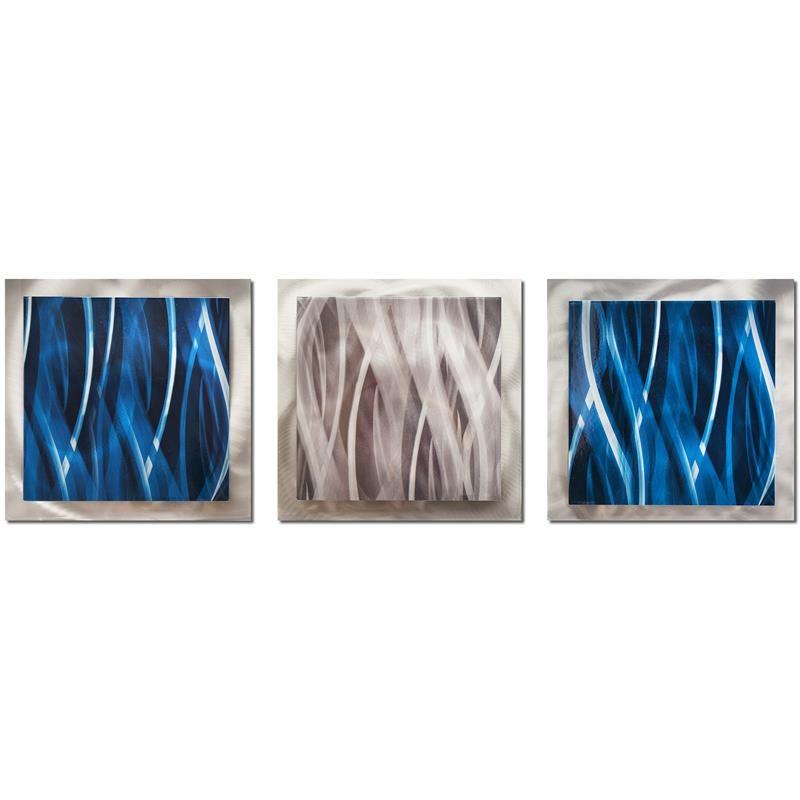 Metal art studio blue and silver essence contemporary modern metal wall artwork overstock shopping big discounts on metal art