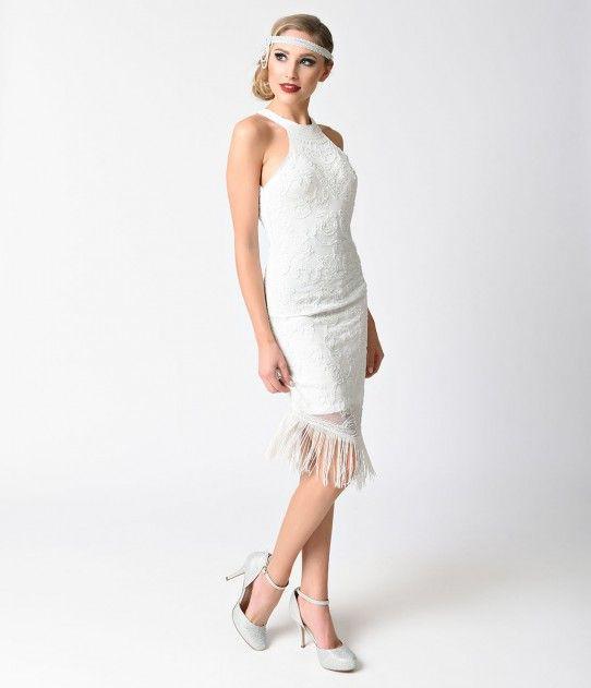 Vintage Style White Sleeveless Halter Beaded Flapper Dress | 20s ...