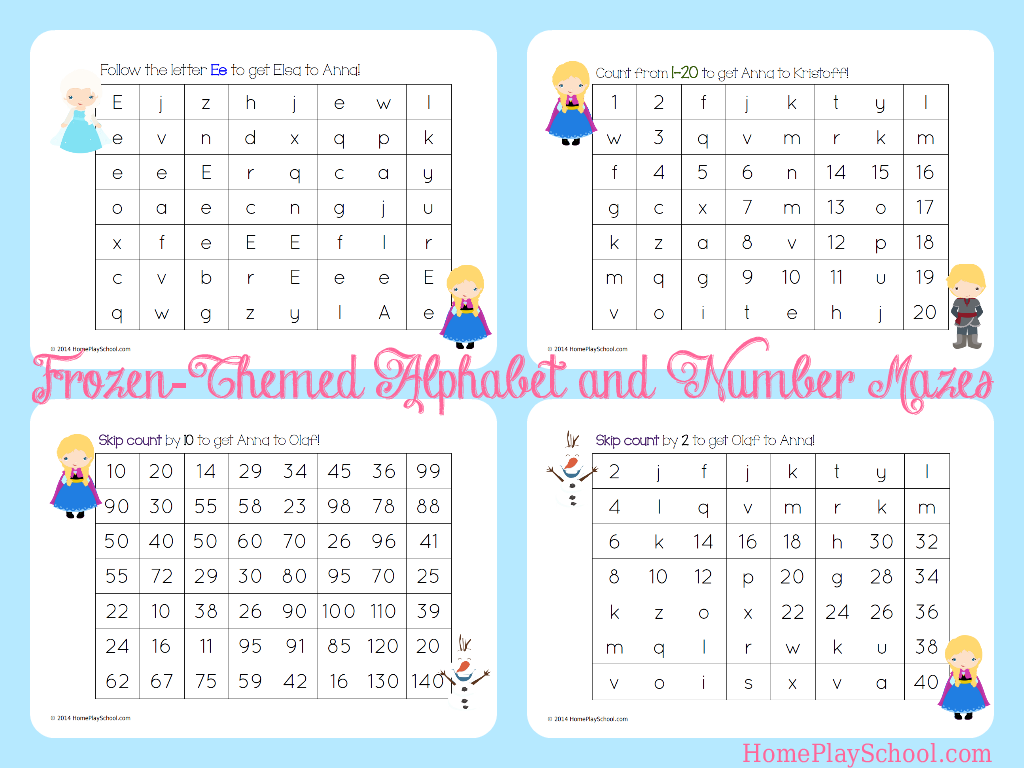 Frozen Themed Alphabet And Number Mazes