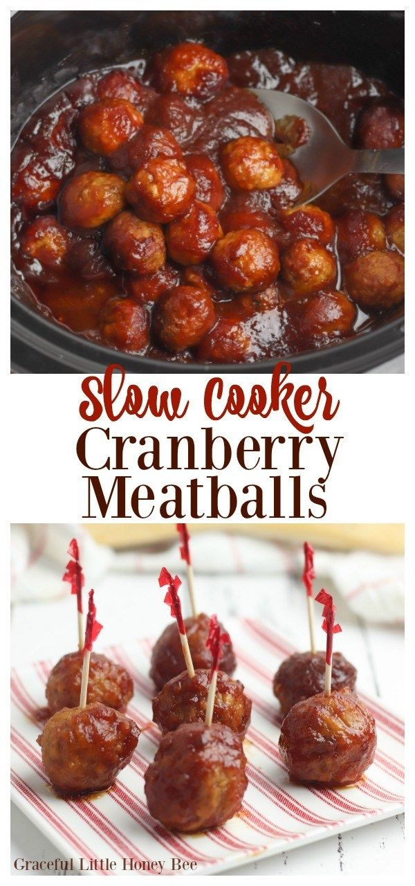 These Slow Cooker Cranberry Meatballs are easy to make and are great for serving at your next Christmas party or holiday event! Find the recipe at gracefullittlehoneybee.com #slowcooker #slowcookerrecipes #crockpot #crockpotrecipes #recipe #easyrecipe #cranberry #meatballappetizer #appetizers