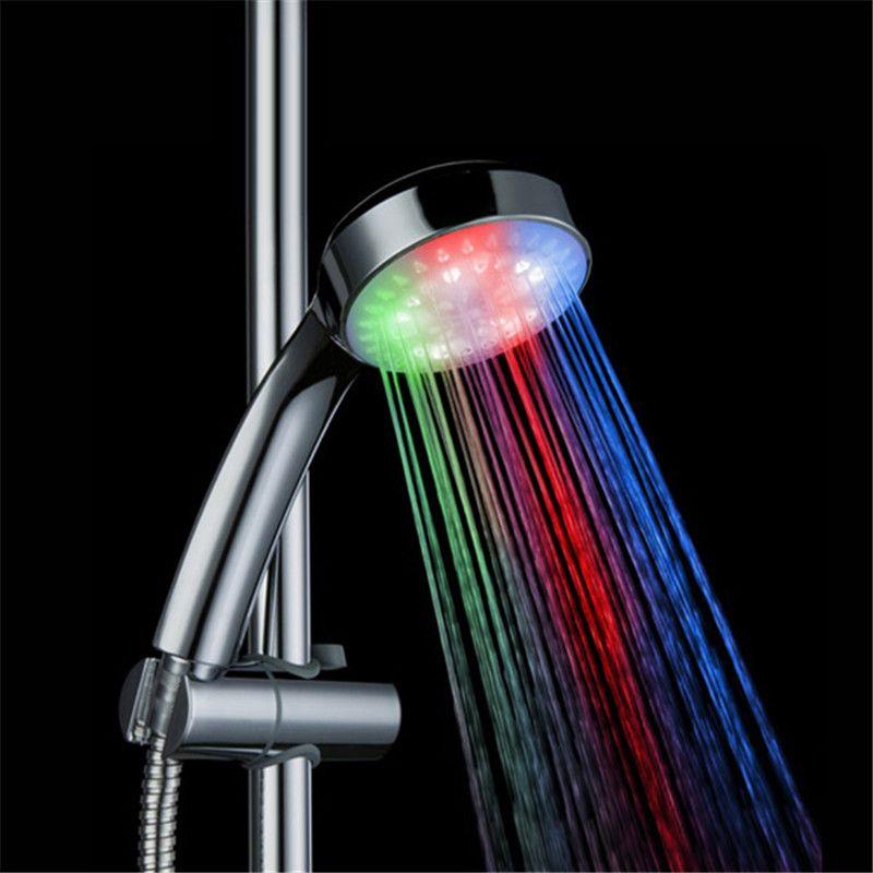 Rgb 3 Colours Led Shower Head Home Bath Abs Temperature Sensor Control Temperature Detectabe Bath Nozzle Led Shower Head Shower Heads Shower Design