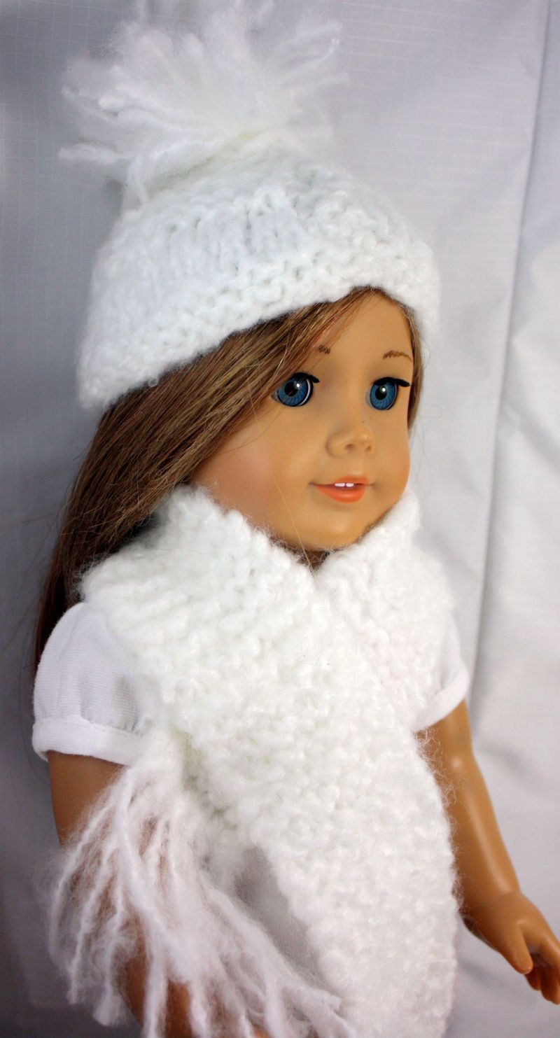 American Girl Doll Clothes-White Hand Knit Hat and Scarf ...