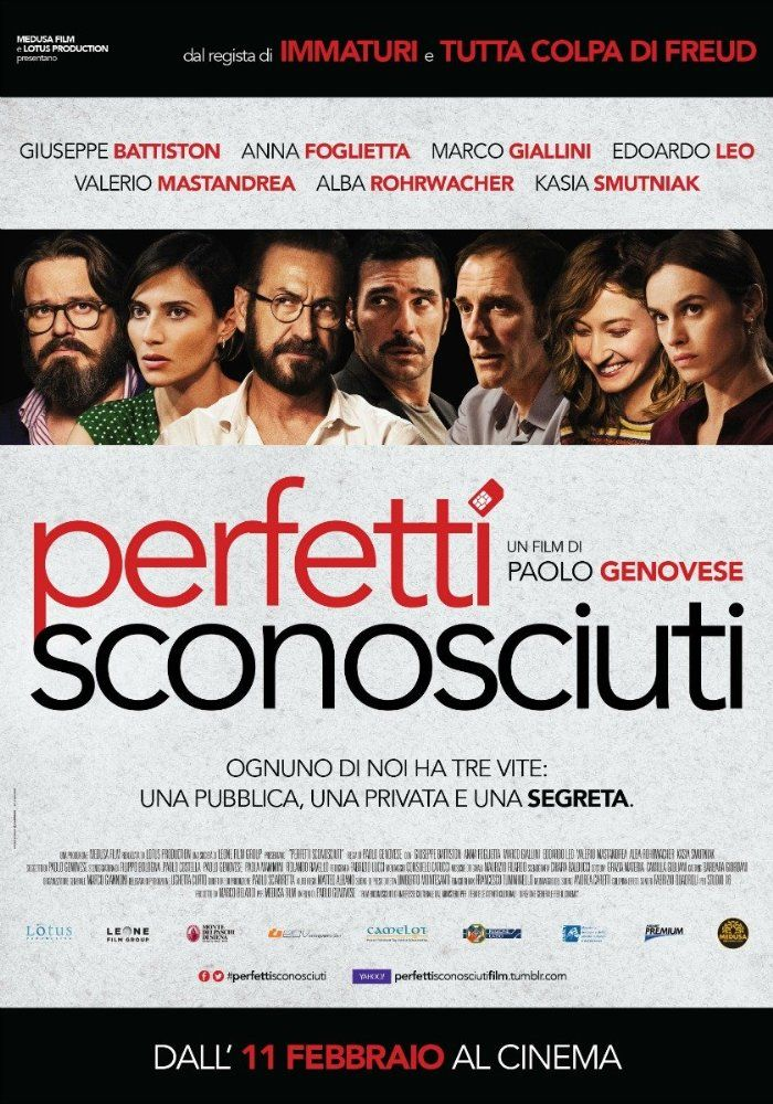 Perfetti sconosciuti (2016) Free Full Movie Online HD Rate: 7.7/10 total 8,737 votes Genre: Comedy | Drama Release Date: 11 February 2016 (Italy) Runtime: 97 min Filming Location: Rome, Lazio, Italy Director: Paolo Genovese Stars: Giuseppe Battiston, Anna Foglietta, Marco Giallini  Original Music By: Maurizio Filardo
