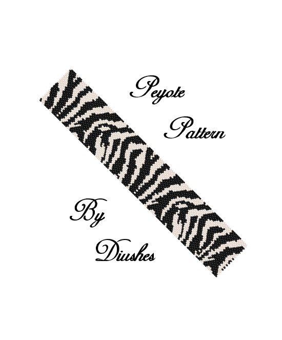 SALE30% Beading pattern Bracelet cuff Zebra. by