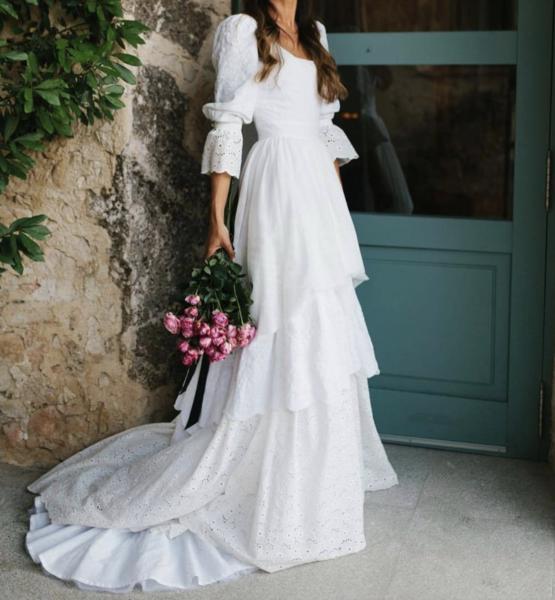 Lace Wedding Dresses,dresses, Rustic Wedding Dress,3/4 Sleeves Lace  bridal gown,  Lantern sleeve wedding dress – samo za mene