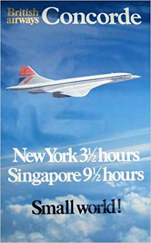 Classic travel airline poster by British Airways advertising Concorde and flight times
