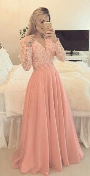 Custom Made Pink Chiffon Prom Dress Long Sleeves Evening Dress Pearl Bead Prom Dresses With Sleeves Prom Dresses Long With Sleeves Evening Dresses With Sleeves