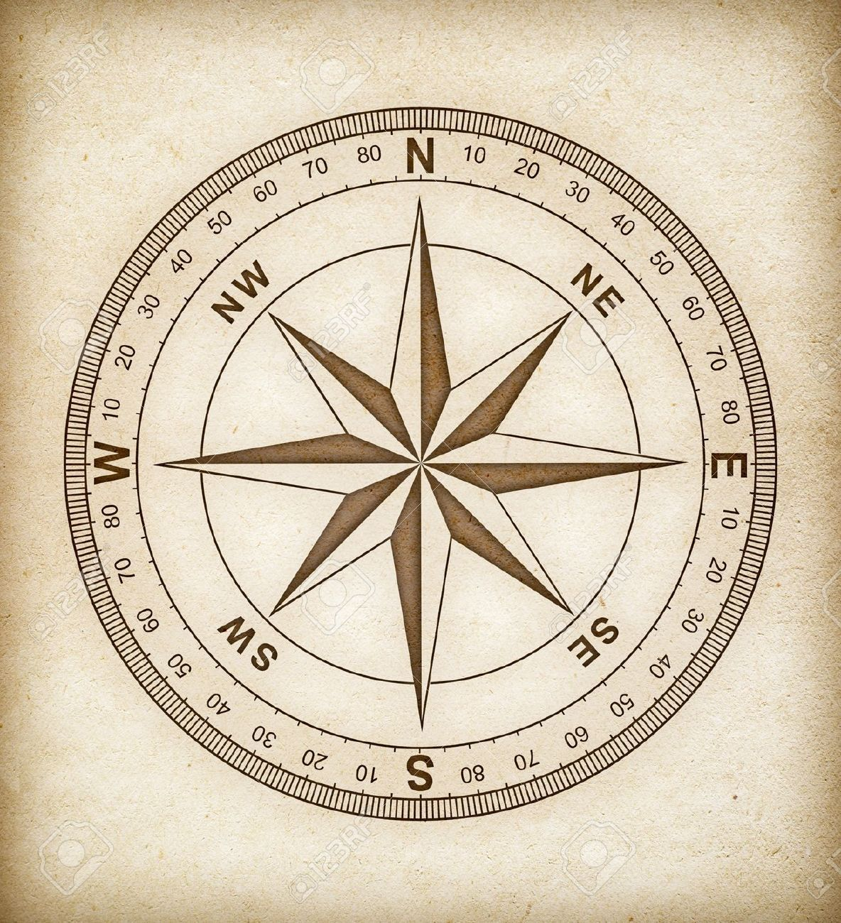 Rosa De Los Vientos En El Papel Viejo Compass Rose Simple Compass Compass Drawing