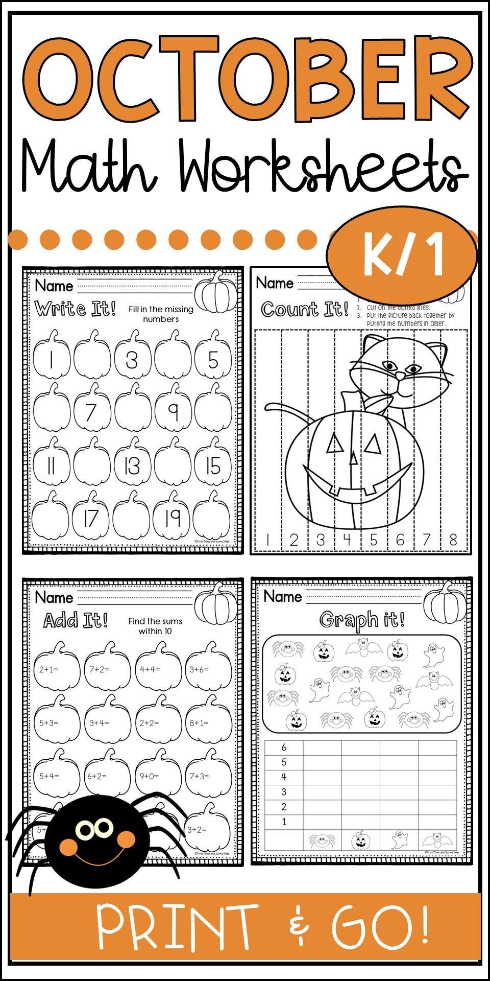 October Math Worksheets Halloween Math Worksheets October Math Halloween Math Activities Halloween addition worksheets first