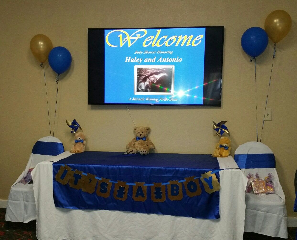 Baby shower gift table royal blue and gold my creations pinterest baby shower gift table royal blue and gold negle Gallery