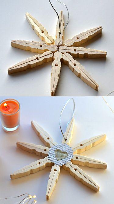 Fabriquer des étoile pour Noel avec des épingles à linge :) Le tuto sur notre blog !  #noel #diy #bricolage #manuelle #sapin #activitémanuelleenfantnoel