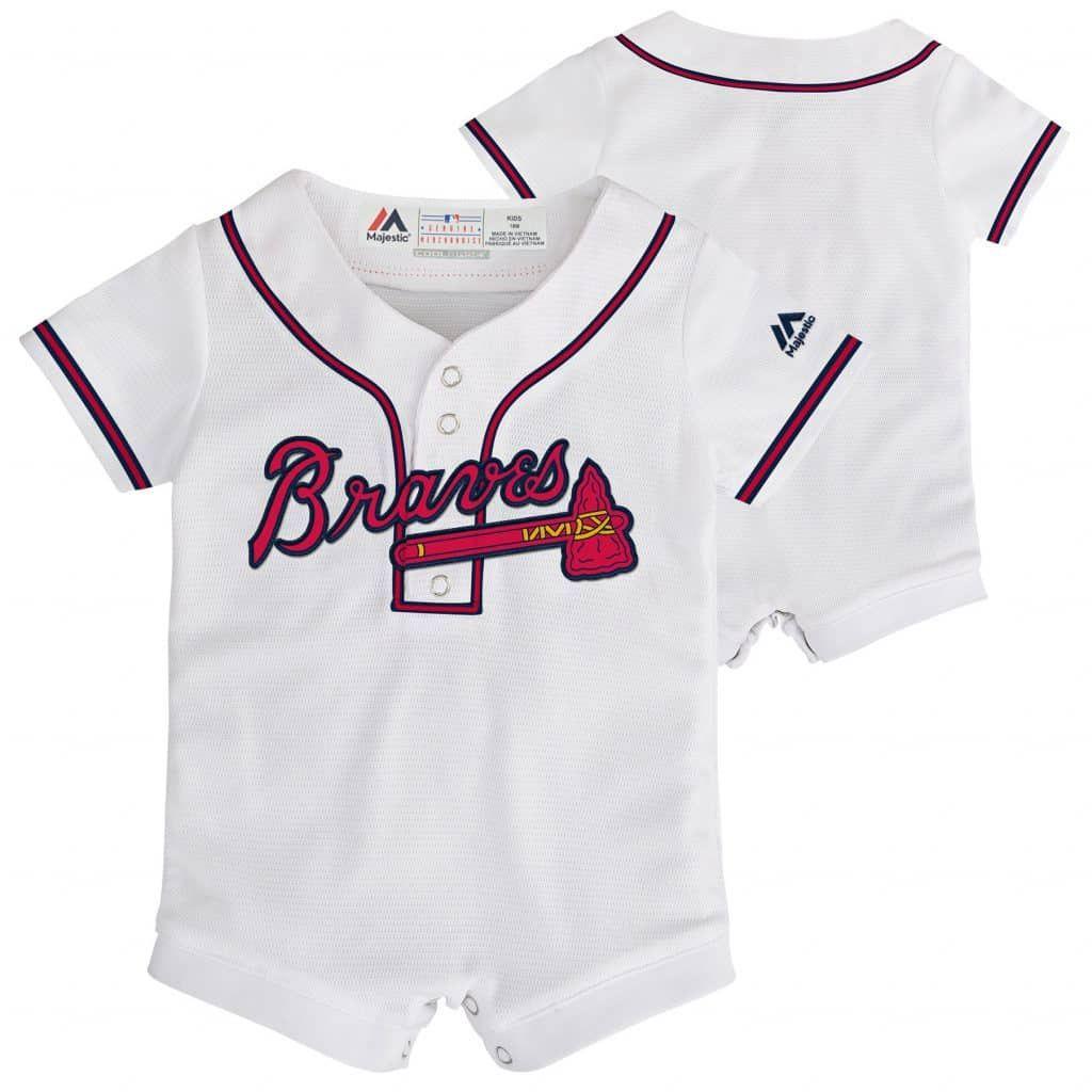 Atlanta Braves Baby 0 3m White Button Up Jersey Romper Coverall Atlanta Braves Baby Braves Jersey Atlanta Braves