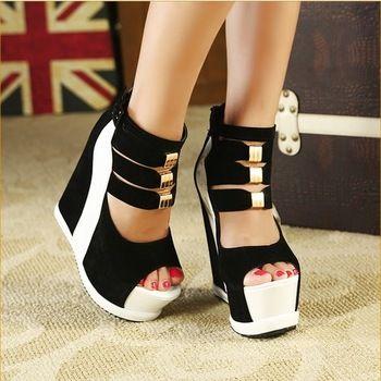 Ladies Sexy Platform High Wedge Heel Sandals Women Summer Shoes Pumps With Back Zip