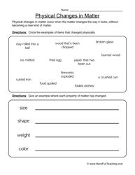 physical changes worksheet 1 physical change worksheets and teaching ideas. Black Bedroom Furniture Sets. Home Design Ideas