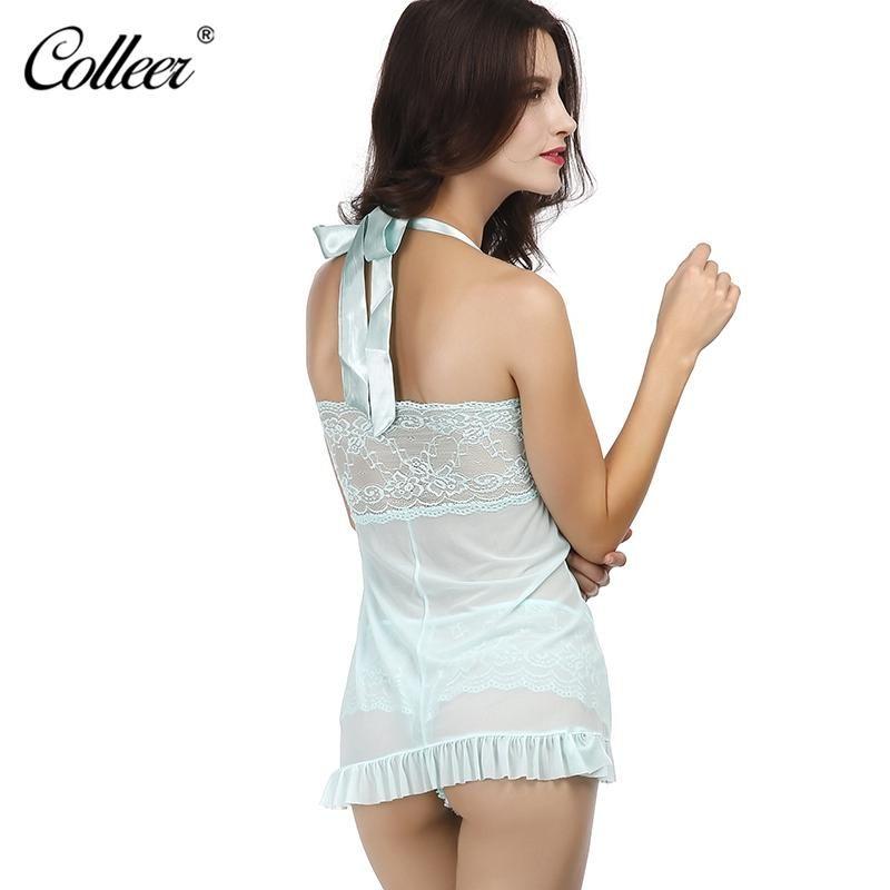 6a17fd5184f5c COLLEER Sexy Lingerie Plus Size Lace Bralette Push Up Bra Set Underwear  Women Transparent Nightwear Halter