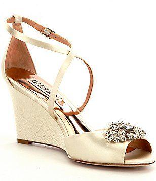 28c7fd425a6 Badgley Mischka Abigail Crystal-Embellished Satin Wedge Dress Sandals