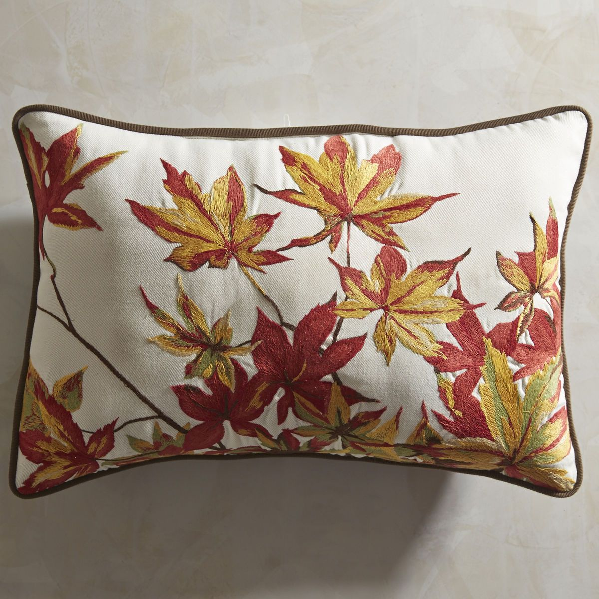Falling Leaves Embroidered Lumbar Pillow Decorative Holiday Pillows Thanksgiving Pillows Fall Pillows