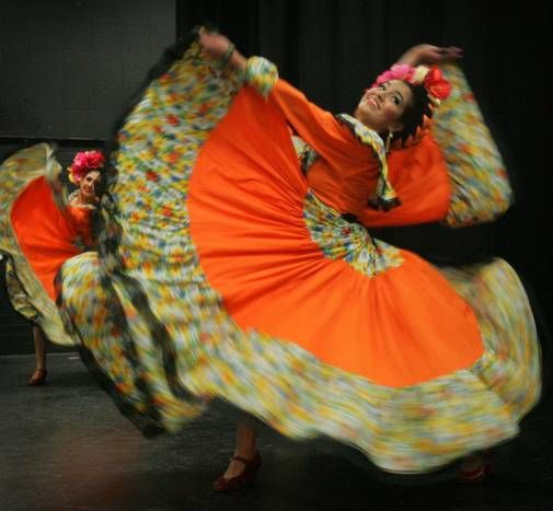 Moreno Valley High School Ballet Folklorico dancer Shemain Avina, 19,  performs during rehearsal on