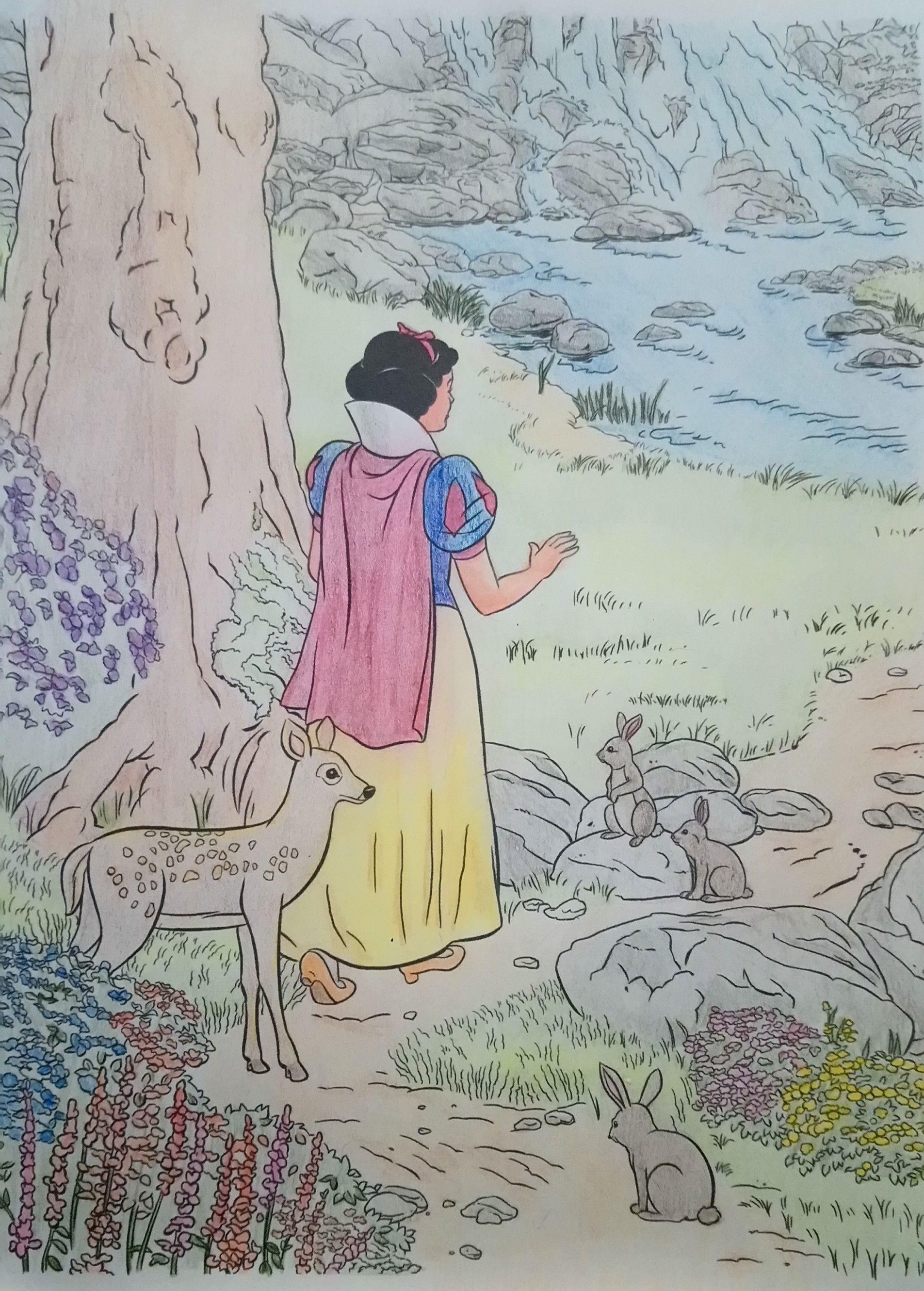 Snow White From Disney Dreams Collection Thomas Kinkade Studios Coloring Book By Thomas Kinkade Disney Dream Coloring Books Thomas Kinkade