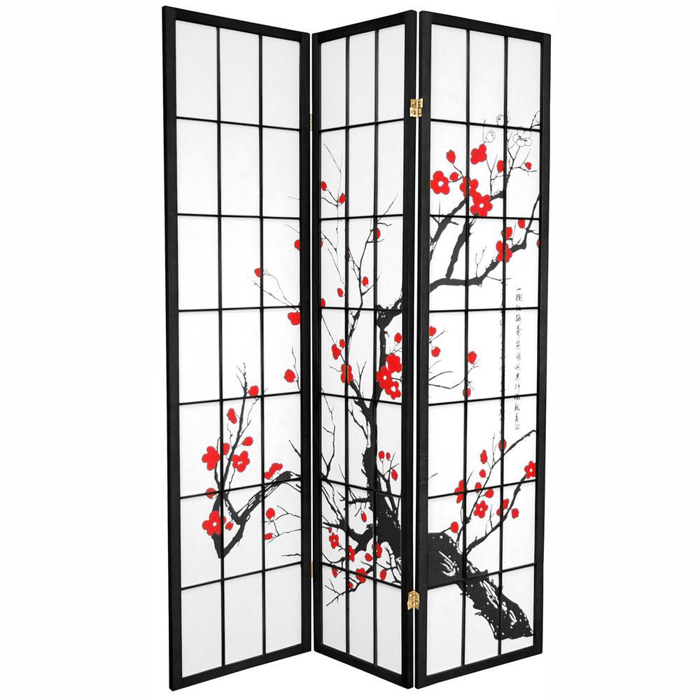Oriental Unlimited 6 Ft Black 3 Panel Room Divider Room Divider Room Divider Screen Panel Room Divider