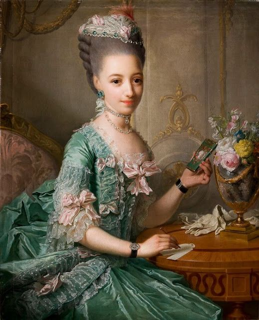 ▴ Artistic Accessories ▴ clothes, jewelry, hats in art - Georg Matthieu | Portrait of the Duchess Sophia Frederica of Mecklenburg-Schwerin, c. 1774