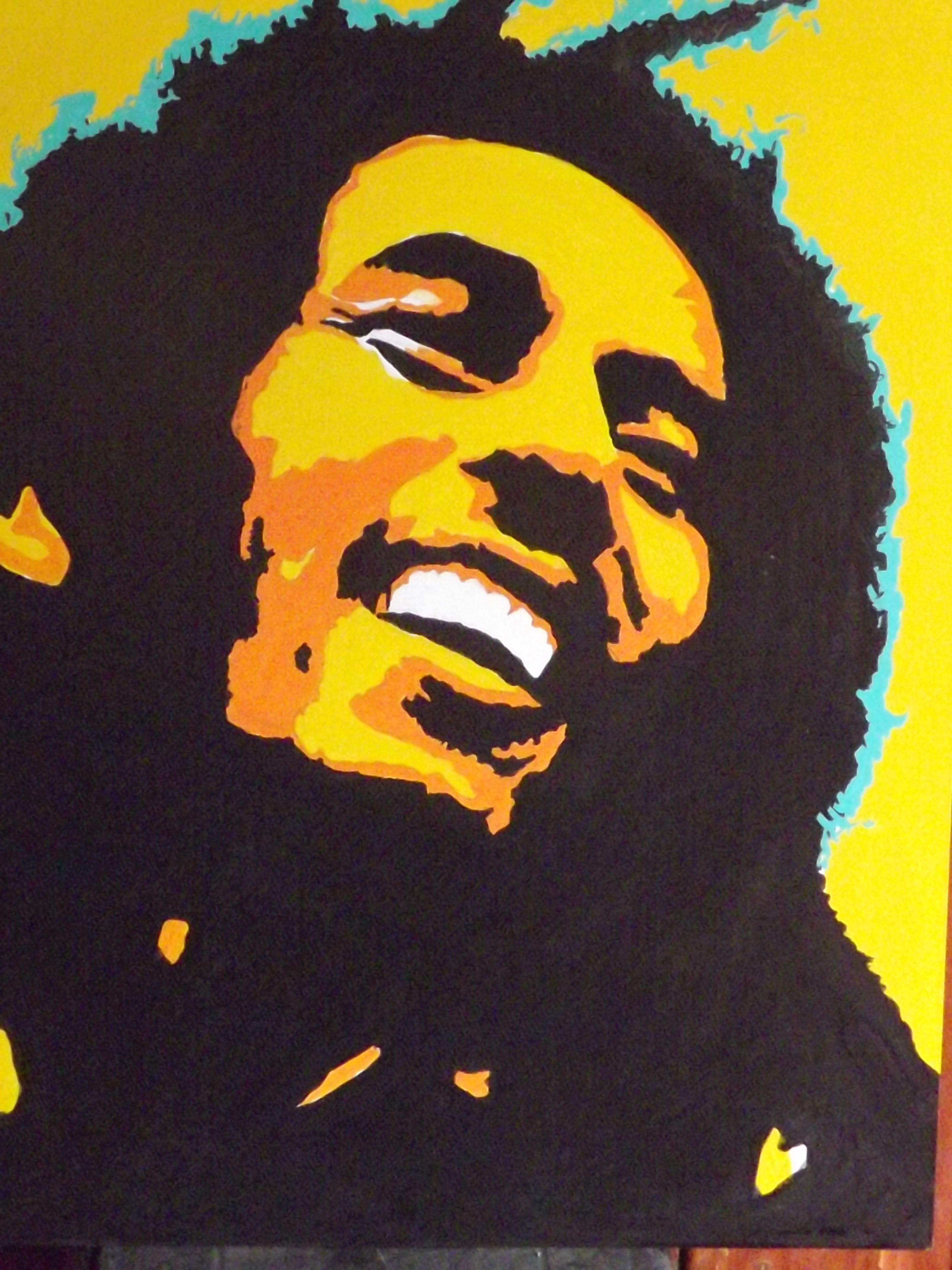Bob Marley En Pop Art Acrilico Sobre Madera