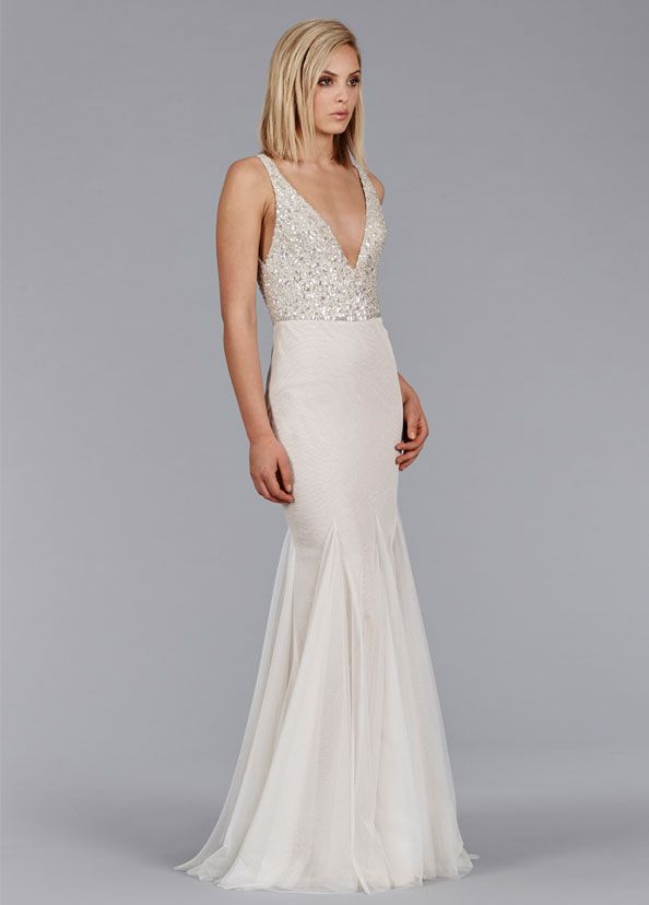 Ivory Cashmere English Net Modified A Line Bridal Gown Platinum Sequin Bodice With V