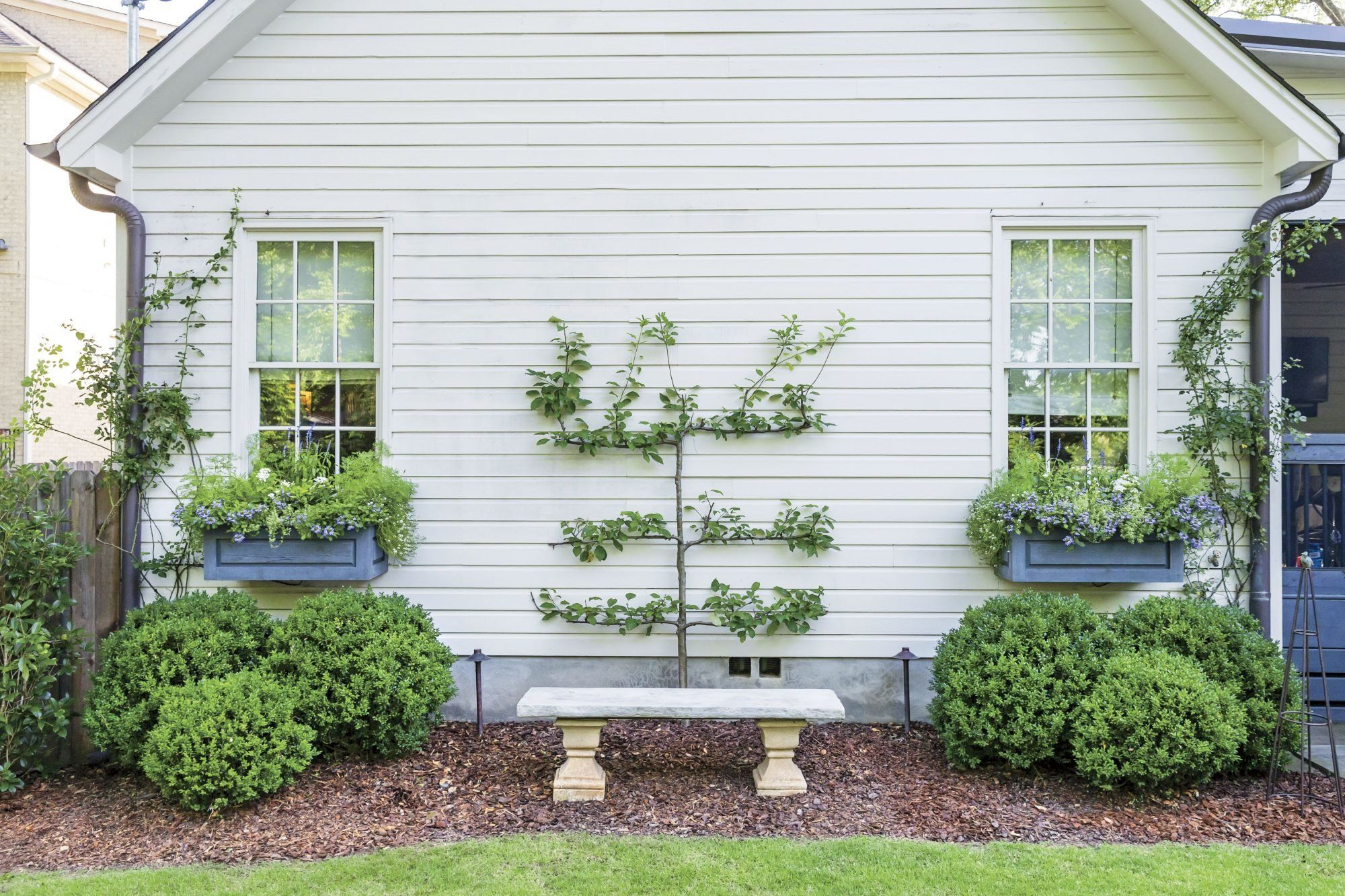 How Landscaping Added Instant Charm To This New Birmingham Home White Brick Houses Backyard Landscaping Backyard