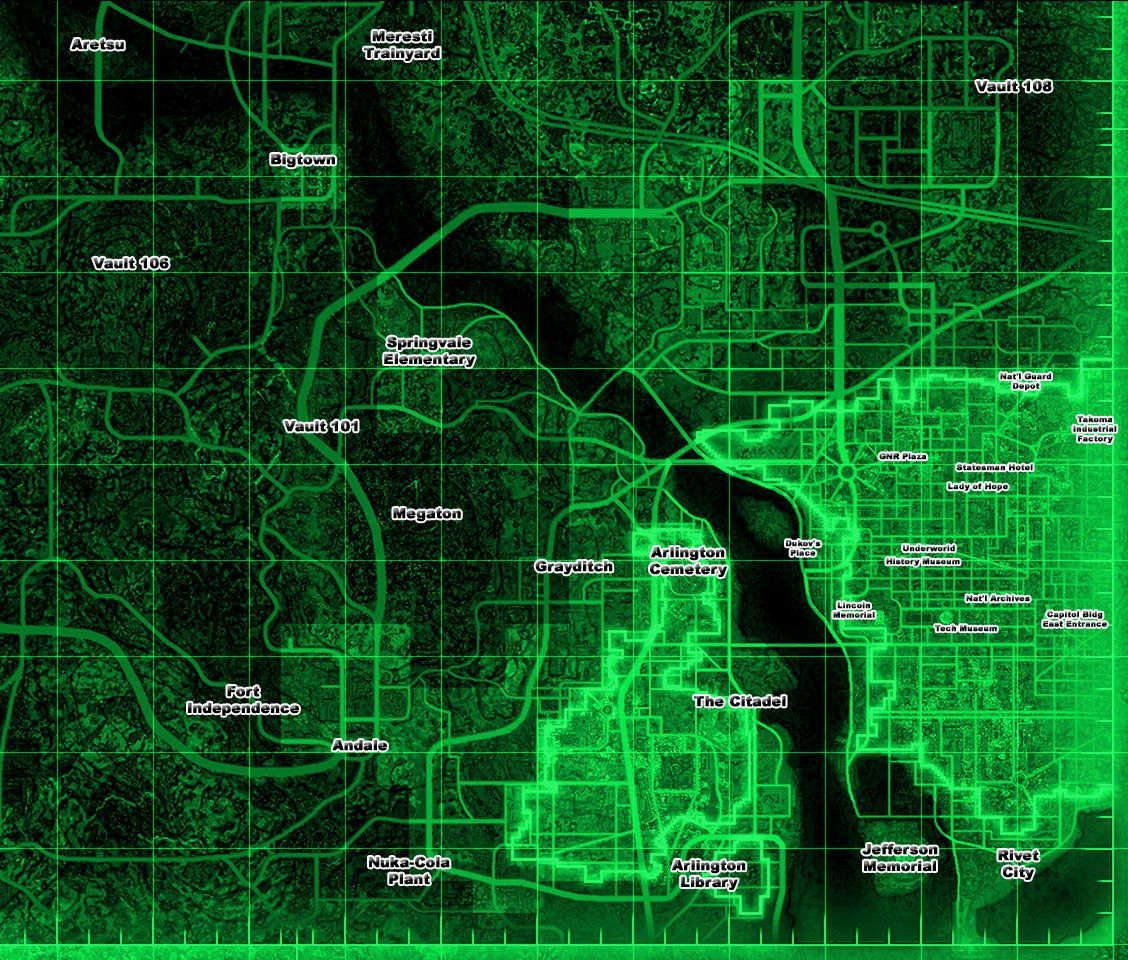 This is a map from Fallout 3, a game for Xbox360, PS3 and PC. This is a post-apocalyptic themed game where you are a lone person wandering the nuclear Wasteland that was formally Washington DC and its outlying suburbs. What is worth pointing out is the accuracy of the map. You can walk around post apocalyptic DC, and you can rome the suburbs, what's left of them. Modified maps of current reality, it can make for a very interesting experience, especially if you know the map in real life.
