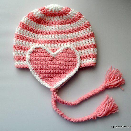 Free pattern: Crochet Valentine\'s Heart Earflap Hat | Classy Crochet ...
