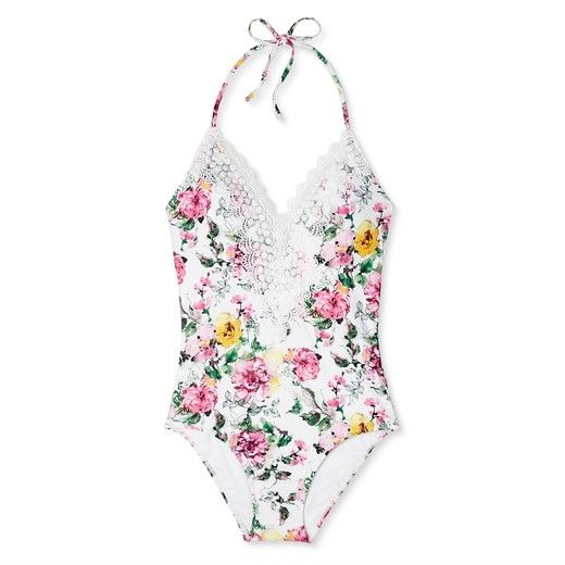 66e52ec59e3b0 Women's Bridal Steel Magnolia Floral Lace Halter One Piece Swimsuit - White  - Sea Angel : Target