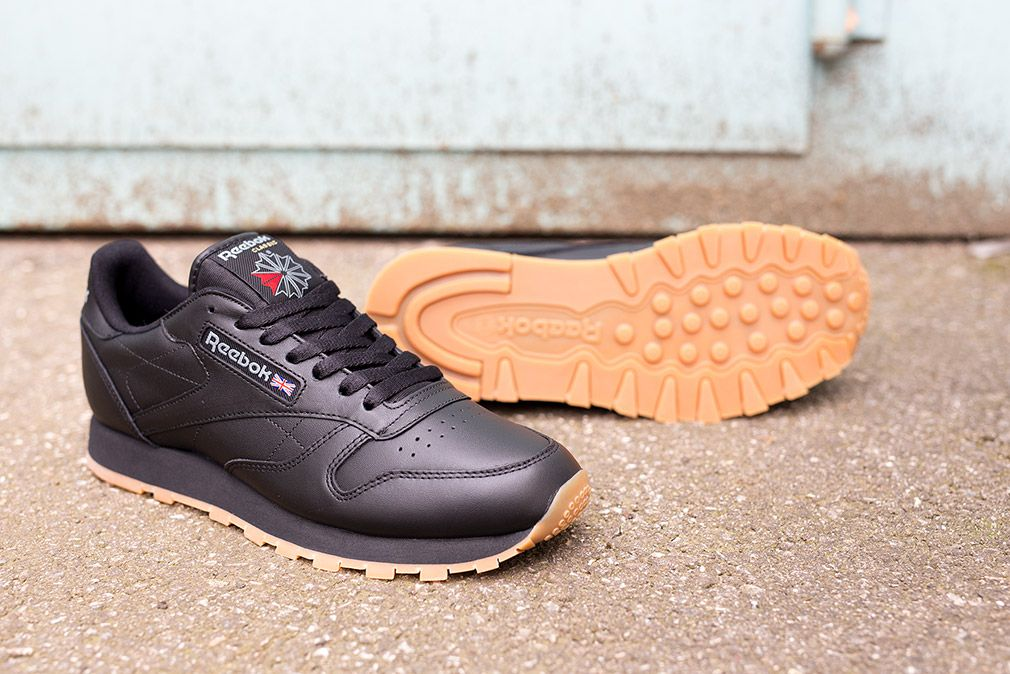 314f439649aed reebok classic leather in black gum - Google Search